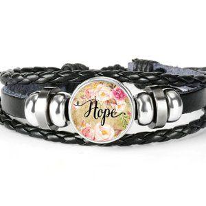 Bracelet-NEW- Leather Christian HOPE Adjustable